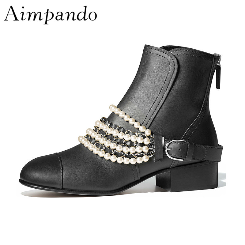 Ladylike Black Patchwork Leather Short Boots Back Zip Square Thick Heel Studded Buckle String Bead Chains Ankle Boots WomenLadylike Black Patchwork Leather Short Boots Back Zip Square Thick Heel Studded Buckle String Bead Chains Ankle Boots Women