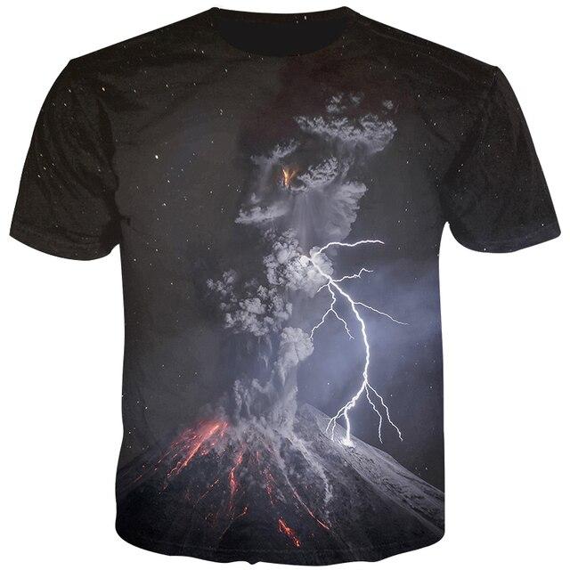 62c68259162a5 Cloudstyle Vulcão Impresso Masculino 3D T-shirt Mangas Curtas O-neck  Camiseta Hip Hop Streetwear 2019 Novo Design T shirt Casual topos