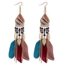 ECODAY Ethnic Feather Earrings Alloy Leaf Tassel Long for Women Pendientes Mujer Oorbellen Boho Jewelry