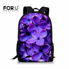 FORUDESIGNS 3D Prints Purple lilac Flower School Bags for Girls Children Orthopedic Backpack Bookbag Sac a dos Enfant