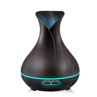 Ultrasonic Air Humidifier Aroma Essential Oil Diffuser With Wood Grain 400ml 7 LED Lights For Office