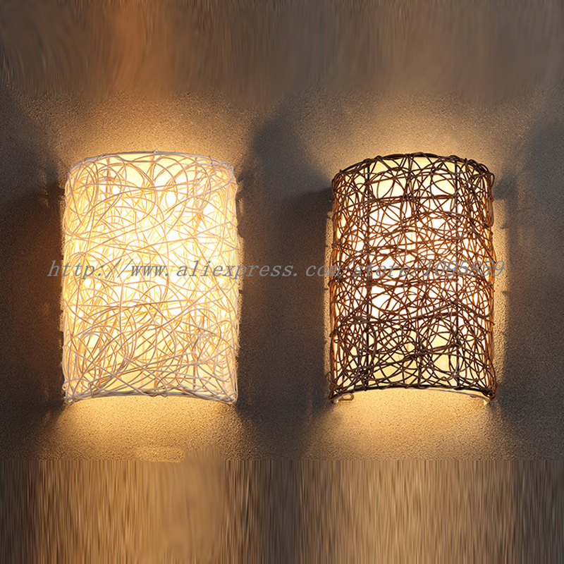 Modern Handmade Rattan Wall Sconces Lamp Brown/White Color Bedroom Wall Light Fixtures E14 Bulb 2 colors modern iron wall lamp adjust angle arm bedroom study room work place e14 ac110v 240v wall light sconces fixtures