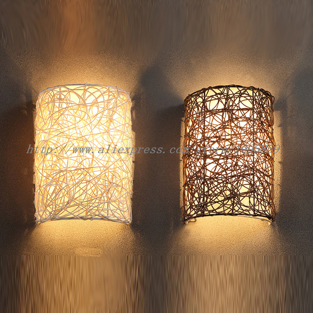 Modern Handmade Rattan Wall Sconces Lamp Brown/White Color Bedroom Wall  Light Fixtures E14 Bulb