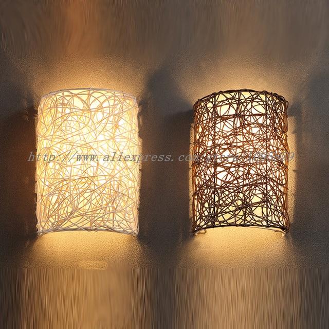 Beautiful Moderne Handgefertigte Rattan Wandlampen Lampe Braun/Weiß Farbe Schlafzimmer  Wand Leuchten E14 Glühbirne Amazing Pictures