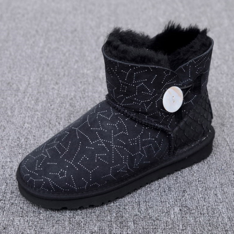 Australia Natural sheep fur one snow boots female buckle with winter flat bottomed warm short boots,Low price discount ubz women snow boots australia sheepskin wool snow boots female winter flat shoes bottomed buckle warm boots botas mujer