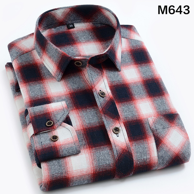 EYM Brand Flannel Plaid Shirt Men Cotton 2018 Autumn New Male Casual Long Sleeve Shirt Plus size High Quality Warm Man Clothes 4