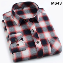 EYM Brand Flannel Plaid Shirt Men Cotton 2018 Autumn New Male Casual Long Sleeve Shirt Plus size High Quality Warm Man Clothes