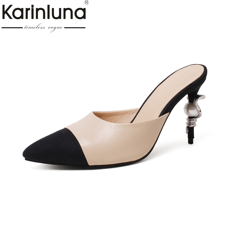 KARINLUNA genuine leather Big Size 34-39 pointed Toe Women Mules Pumps Fashion thin high Heels Slip On Leisure Shoes spring autumn women pumps mules shoes patent leather casual fashion slip on pointed toe big size lazy shoes shallow thin heels