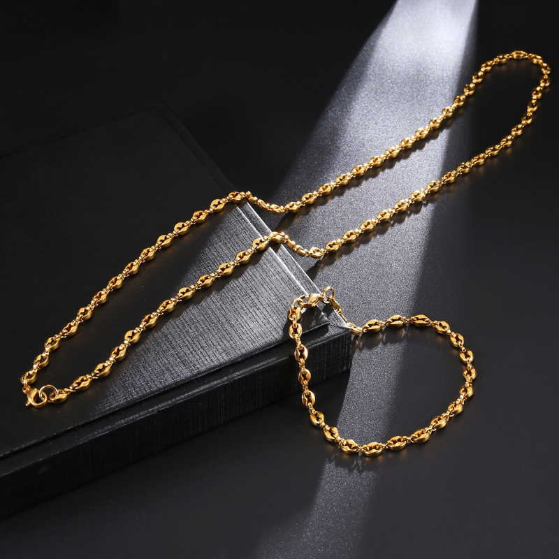 HIP 316L Stainless Steel Bracelet Coffee Beans Link Chain Bracelet For Mens Jewelry 4.5MM 21.5CM Male Bracelets Bangles Gold