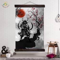 Японский самурайский красный солнце современный настенный художественный принт поп-арт плакаты и принты прокрутки холст живопись