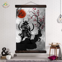 Japanese samurai Red Sun Modern Wall Art Print Pop Posters and Prints Scroll Canvas Painting wall pictures for living Room