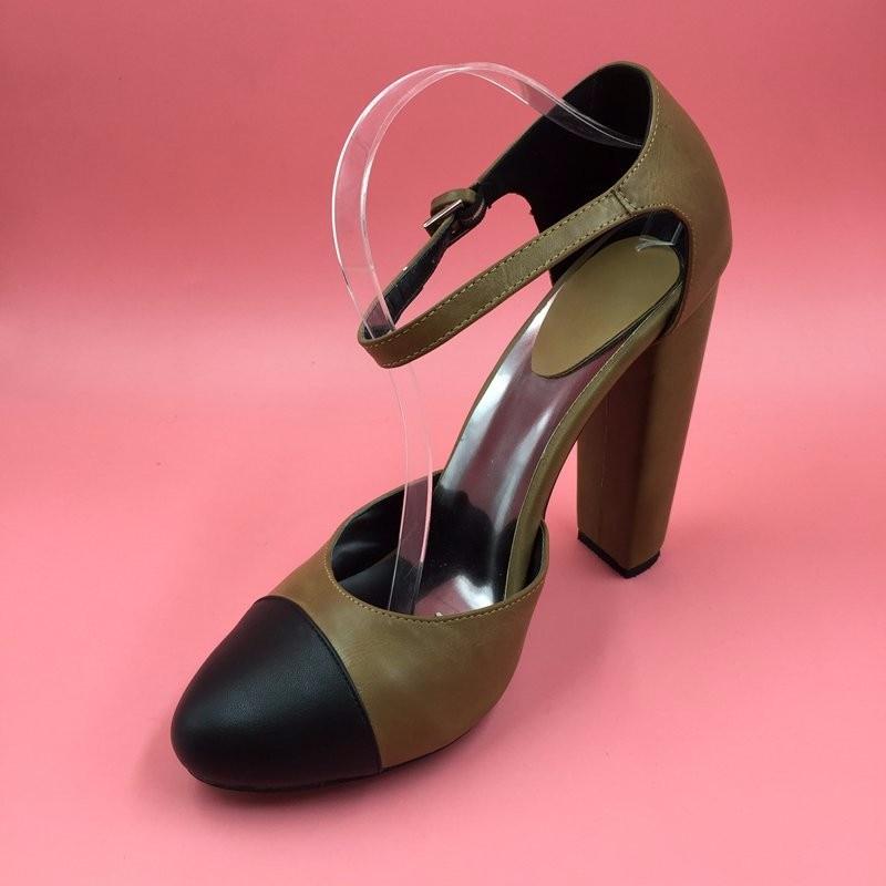 Round Toe Ankle Strap Pump Dua Potong Wanita Pompa Chunky Heels Unik - Sepatu Wanita - Foto 2
