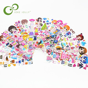 5pcs/lot dress up girls 3D Stickers Kids Toys Cartoon Children girls dolls PVC Stickers Bubble Stickers toy YYY WYQ