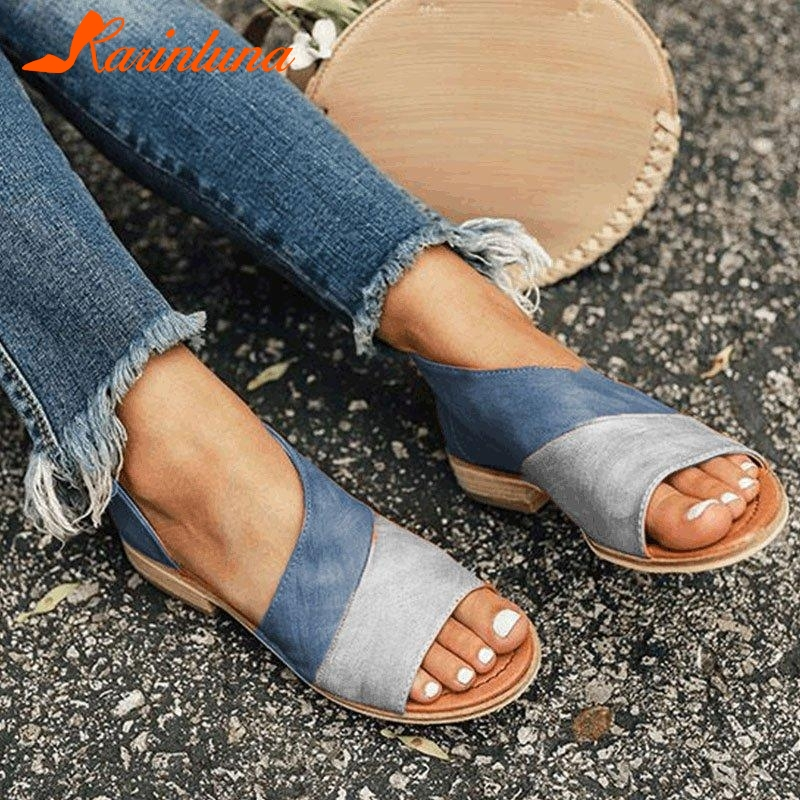 KARINLUNA 2019 New Summer mixed-color Cool Retro Sandals Ladies slip-on Large Size 34-43 Casual Women Low Heels Shoes WomanKARINLUNA 2019 New Summer mixed-color Cool Retro Sandals Ladies slip-on Large Size 34-43 Casual Women Low Heels Shoes Woman
