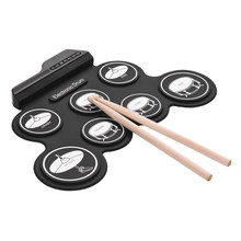 Compact Size USB Roll-Up Silicon Drum Set Digital Electronic Drum Kit 7 Drum Pads with Drumsticks Foot Pedals for Children Kids(China)