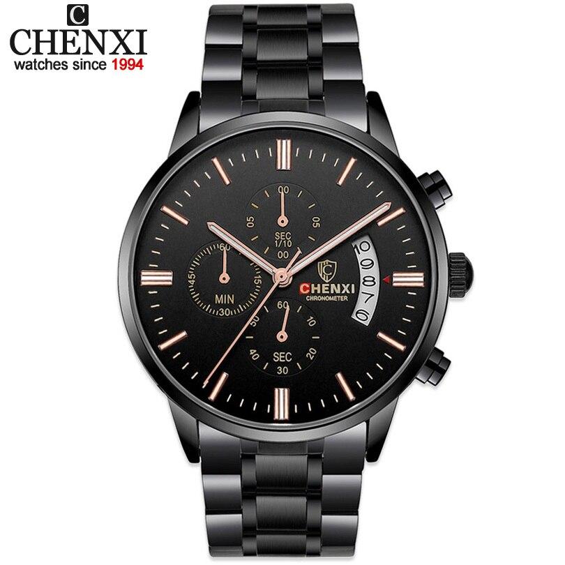 CHENXI Montres De Mode De Luxe Marque Hommes Sport Multifonctionnel Quartz montres Homme Étanche Noir En Acier Plein Quartz-montre