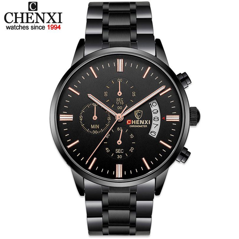 CHENXI Wristwatches Fashion Luxury Brand Men Sports Multifunctional Quartz watches Man Waterproof Black Full Steel Quartz-watch эксмо 978 5 699 67787 0