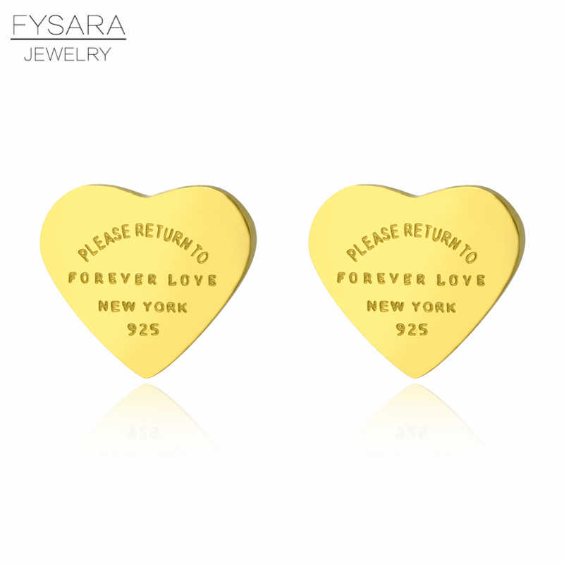 FYSARA 361L Stainless Steel Rose Gold Color Forever Love Heart Earrings For Women Luxury Fine Stud Earrings Brand Female Jewelry