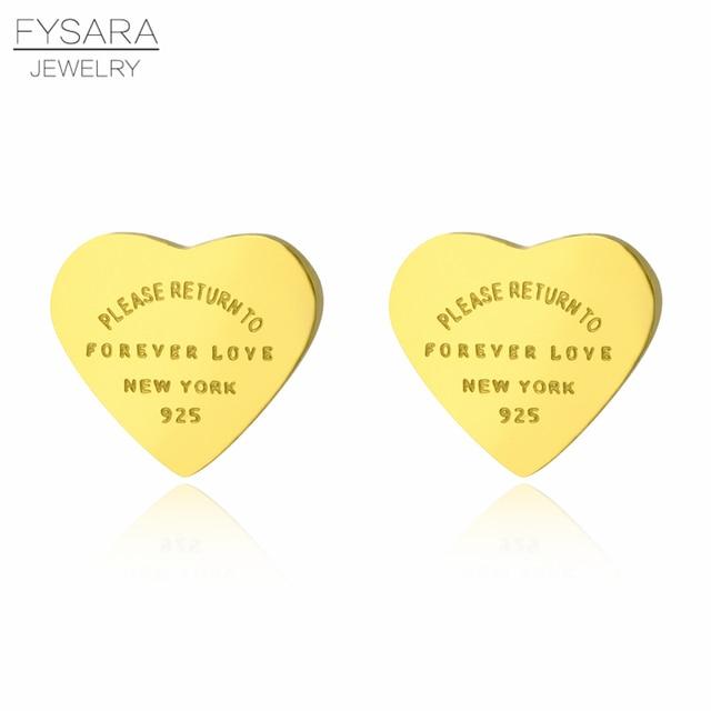 FYSARA 361L Inox Hoa Hồng Vàng Màu Sắc Mãi Mãi Trái Tim Bông Tai Nữ Cao Cấp Mịn Bông Tai Đinh Thương Hiệu Trang Sức Nữ