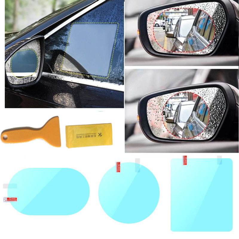 X AUTOHAUX 5pcs Car Anti Rain Anti-Glare Waterproof Film Protective Sticker for Automotive Rearview Mirror and Side Window