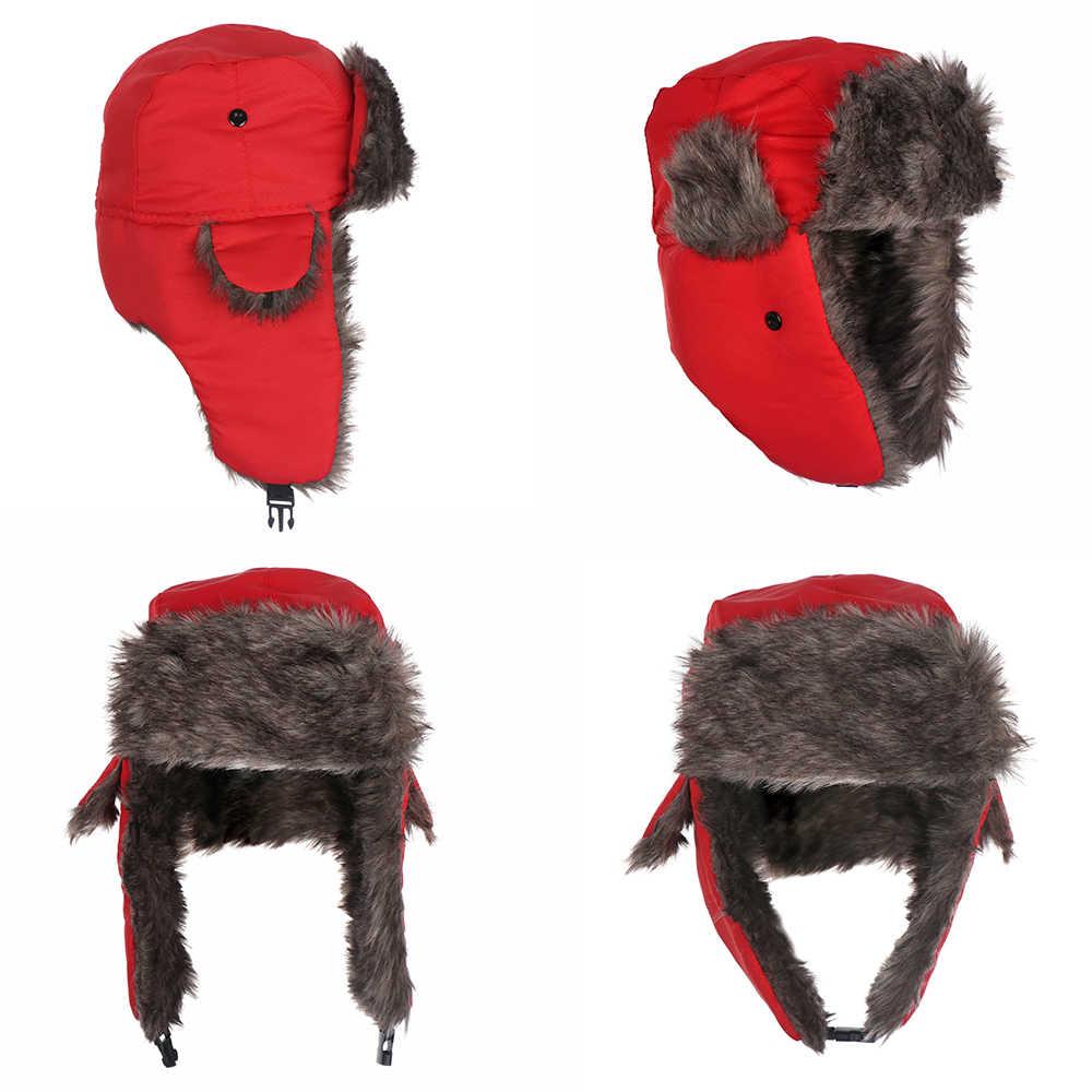 Detalle Comentarios Preguntas sobre 1 unid los hombres adultos orejeras  invierno Trapper soldado bombardero sombrero de Color sólido ruso de esquí  sombrero ... a065f439218