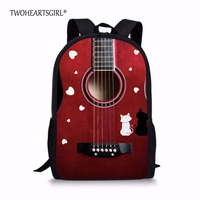 TWOHEARTSGIRL Guitar Instruments Printed Teen Girl School Bag Kid Children Schoolbag With Soft Handle Elementary Book