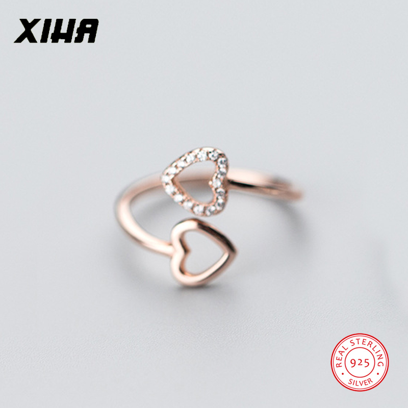 XIHA 925 Sterling Silver Rings for Women with Stones Cubic Zirconia Heart Love Resizable cz Engagement Ring dropship suppliers
