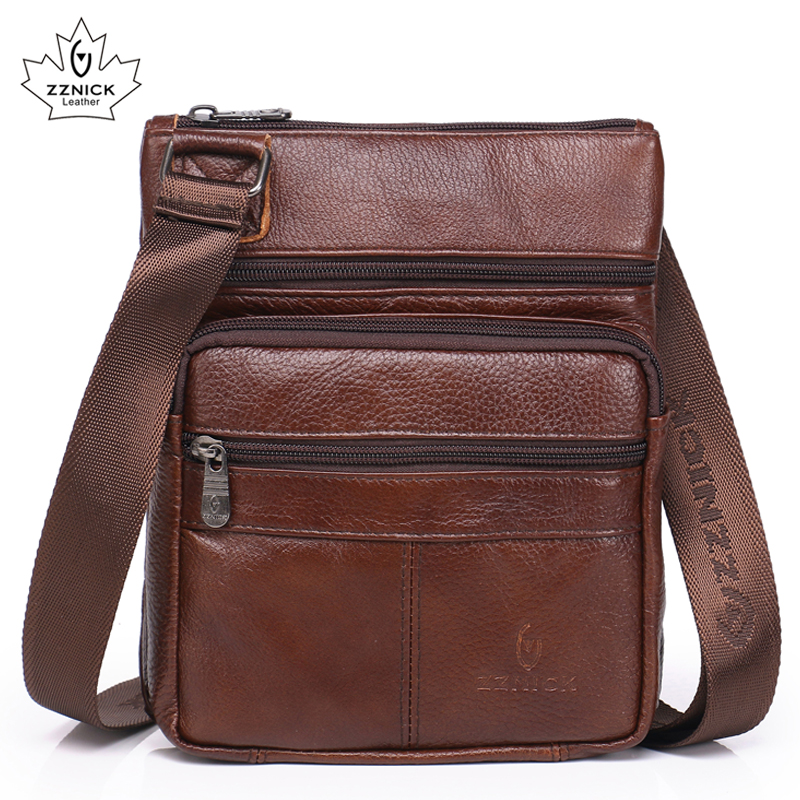Genuine Leather bags mens shoulder bags Fashion Handbags flap Messenger small men Leather bags male 2018 new ZZNICK