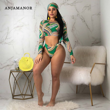 ANJAMANOR Fashion Printing Swimwear Two Piece Set Beach Outfit Women 2 Piece Set Summer Crop Top Shorts Set 2019 D58-AB68