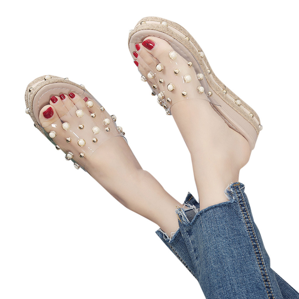 HTB1RDLIaO 1gK0jSZFqq6ApaXXaY Fashion Jelly Sandals Summer Candy Slippers Woman Shoes Flats Ladies Womens Zapatos Mujer Slip On Pearl Beach Wedges Jelly Shoe