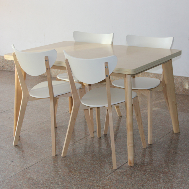 A Ikea Meja Makan Gi Panjang Laminate Flooring Kayu Dan Empat Kursi