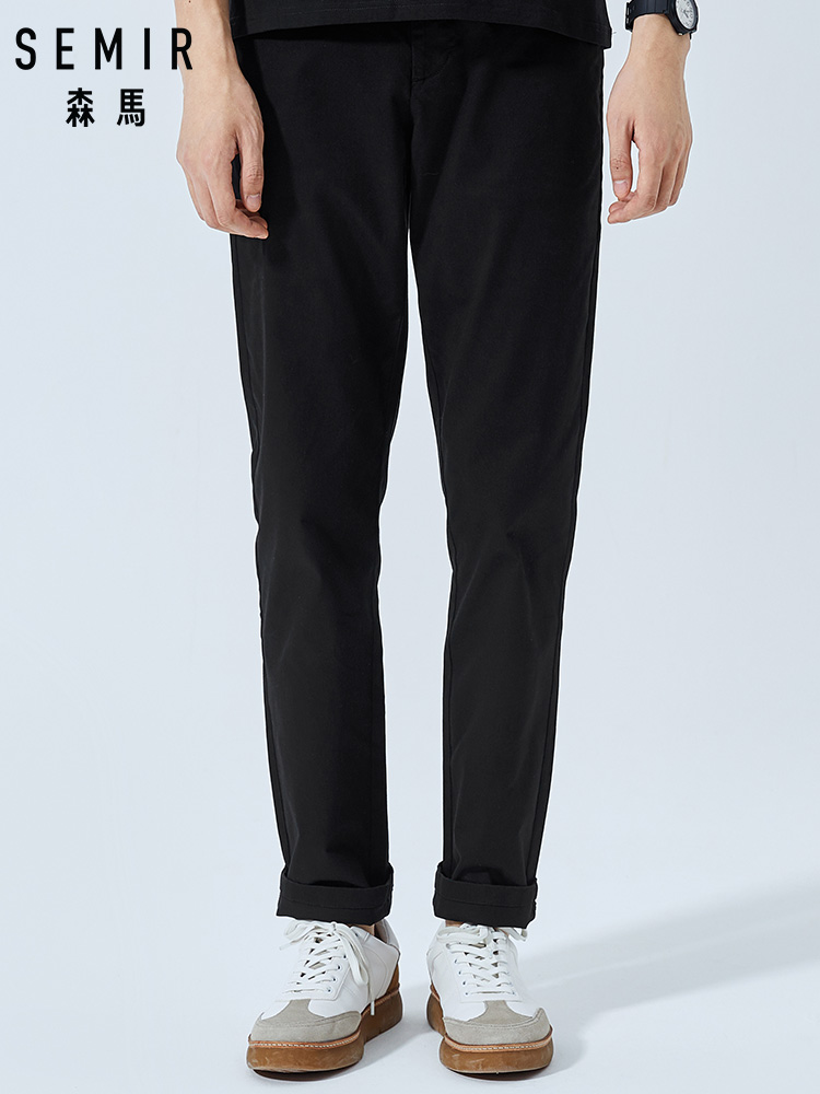 SEMIR Chino Pants Straight Trousers Elastic-Waist Casual-Style Cotton Fit for Spring