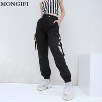 MONGIFI Pockets Loose High Waist   Pants   Women Button Pantalones Cargo   Pants     Capris   Track Harajuku Pencil   Pants   Women's Trousers