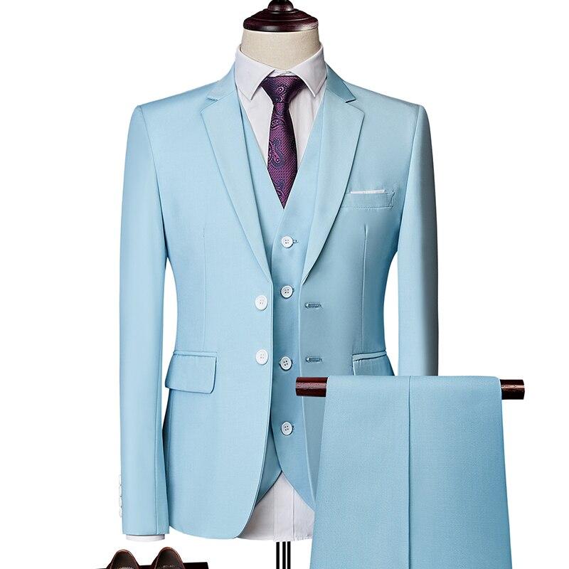 Hommes costume mode couleur Pure Slim costume hommes costume d'affaires décontracté grooms 3 pièce costume Blazers (manteau + pantalon + gilet) grande taille S-6XL