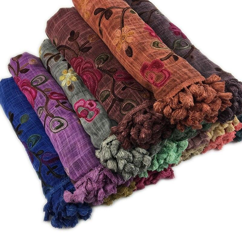 Women embroider Hijab flower scarf shawls muslim cotton pashmina Muffler wraps fashion long wrap scarves 180*90cm 10pcs/lot