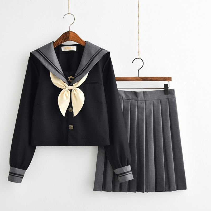 Women Dress Set  JK High School Uniforms Students Girls Sailor Suits Harajuku Preppy Style Long Sleeve Top Short Pleated Skirt