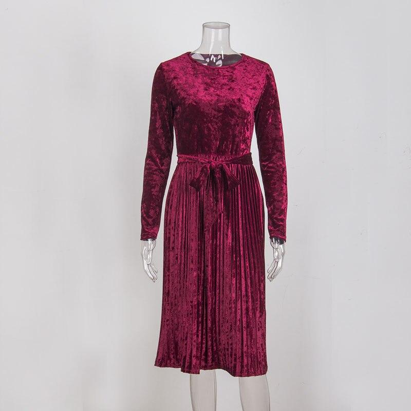 Susi&Rita Vintage Long Sleeve Velvet Dress Women 2019 Bodycon Belted Midi Dress Spring Pleated Party Dresses Vestidos Robe Femme 5