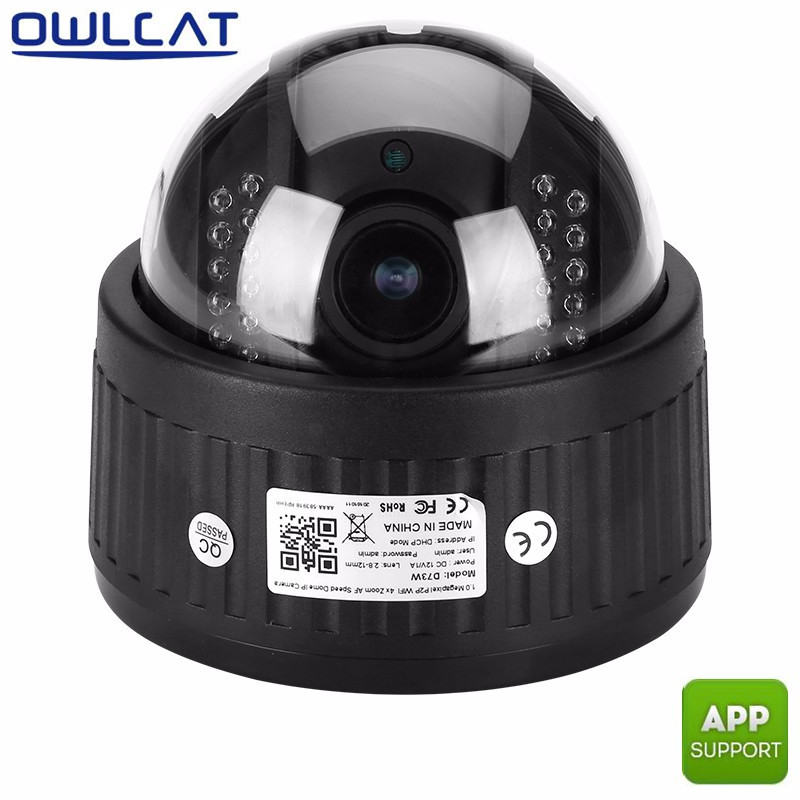 Owlcat 5X Auto Focus Zoom 2.8-12mm lens HD 1080P Dome PTZ Wifi ip Camera Audio built-in MIC home Security camera P2P & SD Card multi language cctv ip camera ds 2de2202 de3 w 2mp auto ptz dome camera with wifi 2x zoom built in mic
