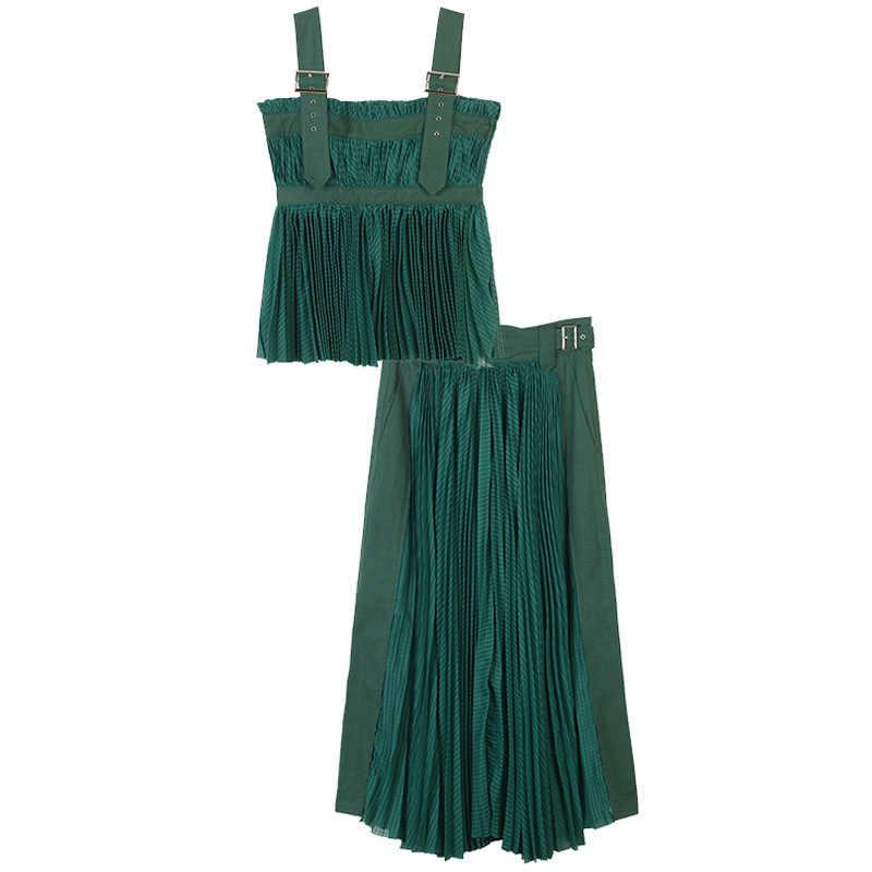 Летние пикантные женские комплект 2018 зеленый, желтый без рукавов Топ на лямках и Высокая талия длинная юбка взлетно-посадочной полосы Для женщин вечерние пляжный комплект Костюмы
