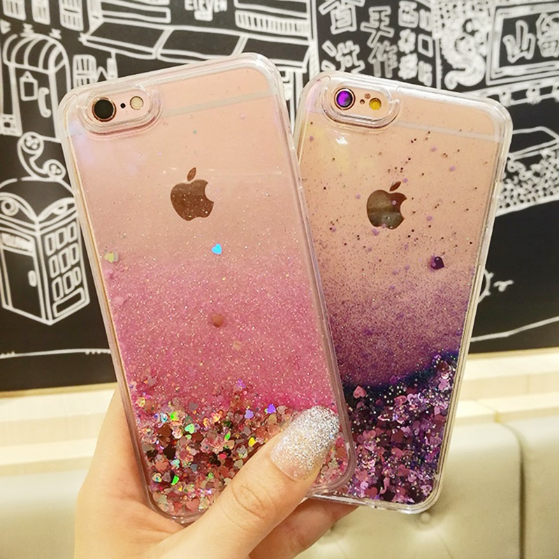 5S case Liquid Quicksand Soft For Iphone6S Case 6G 7 Plus Love Heart Stars Purper Glitter Stars Phone For iPhone 5 SE X Cases