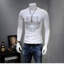 European Style Summer New Cotton Short Sleeve T Shirt Man Large Size Simple Fashionable Tiger Pattern
