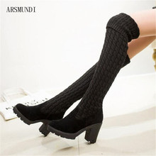 ARSMUNDI 2019 Autumn winter new Korean version of the Knitting long boots over knee womens suede knitting M377