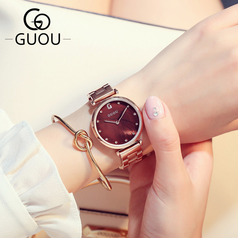 2017 New GUOU Crystal Diamond Full Stainless Steel Rose Gold Waterproof Quartz Wristwatch Women Ladies Wrist Watch Bracelet бейсболка с прямым козырьком truespin craft bordeaux