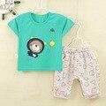 Лето стиль мальчик одежда мода хлопок baby set повседневная коротким рукавом девочка одежда печатных футболку + брюки 2 шт. наборы