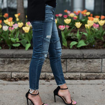 Women Denim Skinny Pants Ripped Destroyed Pleated Stretch Jeans Slim Pencil Trousers 2