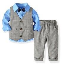 Официальные костюмы для мальчиков, блейзеры комплект одежды для дня рождения, Костюм Джентльмена для маленьких мальчиков топы, рубашка, жилет с галстуком, штаны, комплект одежды из 4 предметов