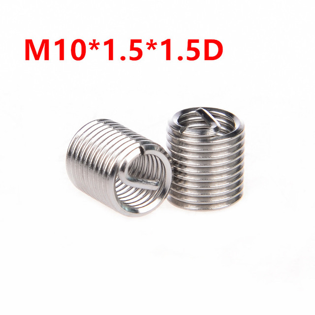 US $3 11 25% OFF|50pcs M10*1 5*1 5D Wire Thread Insert, m10x1 5D Wire screw  sleeve, M10 Screw Bushing Helicoil Wire Thread Repair Inserts SUS304-in