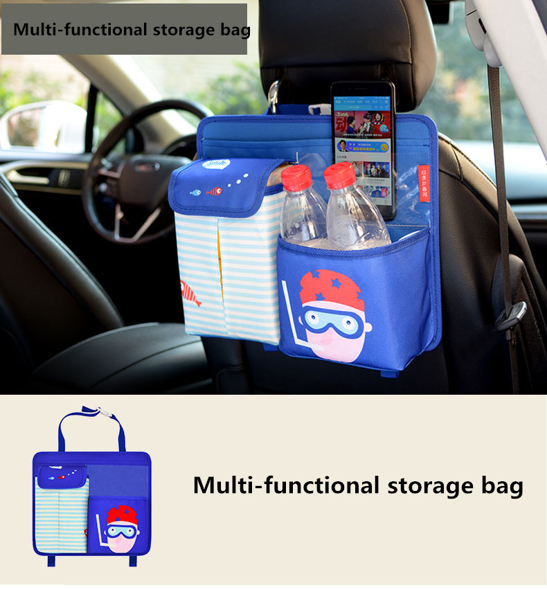 Cartoon Car Seat Storage Bag Hanging Food, Bottle, Handphone, Magazine