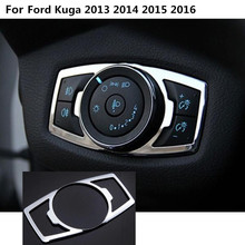 Car detector stick styling Stainless steel front head fog light switch trim frame lamp 1pcs For Ford Kuga 2013 2014 2015 2016
