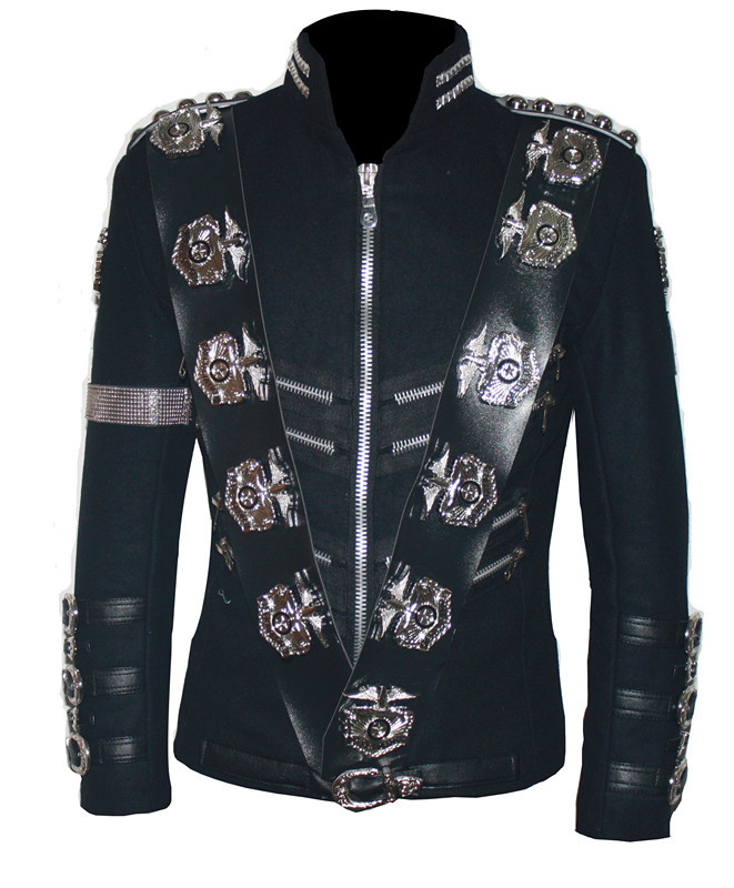 MJ Michael Jackson  BAD JACKET WITH SILVER EAGLE BADGES Punk Jacket  Performance Collection- (ALL SIZES!